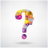 Het kleurrijke hoofdsymbool van de vraagtekenmens Stock Foto's