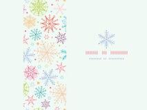 Het kleurrijke Horizontale Kader van Krabbelsneeuwvlokken Stock Foto's