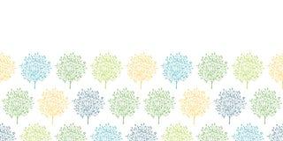 Het kleurrijke horizontale naadloze patroon van de zomerbomen Stock Foto