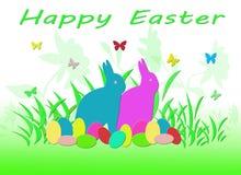 Het kleurrijke Konijn van Pasen met Eieren en Vlinders Stock Afbeeldingen
