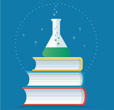 Het kleurrijke laboratorium vulde met een duidelijke vloeistof en boekt vectorillustratie, onderwijsconcepten stock illustratie