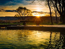 Het kleurrijke Landschap van de Herfst De achtergrond van de aard Royalty-vrije Stock Foto