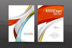 Het kleurrijke malplaatje van de het jaarverslagdekking van het wervelingsontwerp vector illustratie
