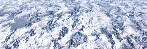Het kleurrijke meer en landschap van bergenhooglanden, panoramisch satellietbeeld van miniatuurworldï¼ šsnow berg royalty-vrije stock afbeelding