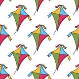Het kleurrijke Naadloze Patroon van de Beeldverhaalvlieger Royalty-vrije Stock Foto's