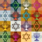 Het kleurrijke Naadloze Patroon van de Chanoeka van het Silhouet Stock Afbeeldingen