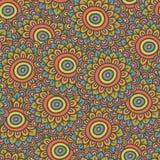 Het kleurrijke naadloze patroon van de krabbelzonnebloem Royalty-vrije Stock Afbeeldingen