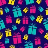 Het kleurrijke naadloze patroon van giftdozen De achtergrond van de vakantie Gekleurde vlakke huidige pictogrammen Herhaal textuu royalty-vrije illustratie