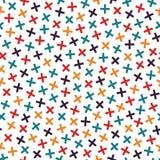 Het kleurrijke naadloze patroon van Memphis in heldere kleuren De textuur van mozaïekkruisen vector illustratie
