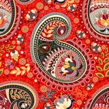 Het kleurrijke naadloze patroon van Paisley Rode Indische achtergrond stock illustratie