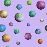 Het kleurrijke naadloze patroon van waterverfplaneten Royalty-vrije Stock Afbeeldingen