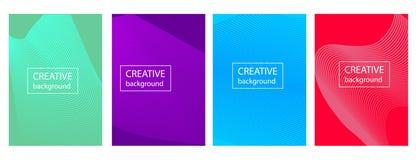 Het kleurrijke ontwerp van de gradiëntdekking met abstracte lijnen en geometrisch patroon stock illustratie