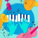 Het kleurrijke ontwerp van muziekinstrumenten vector illustratie