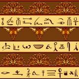 Het kleurrijke ornament van Egypte met Silhouetten van de oude Egyptische hiërogliefen Stock Afbeeldingen
