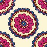 Het kleurrijke patroon van de krabbelbloem, vectorillustratie Royalty-vrije Stock Foto