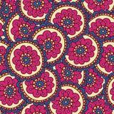 Het kleurrijke patroon van de krabbelbloem, vectorillustratie Stock Afbeeldingen
