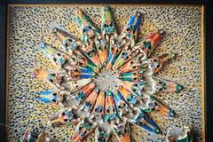 Het kleurrijke patroon van de krokodilschedel op de kadermuur Krokodil sk Royalty-vrije Stock Foto's