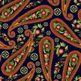 Het kleurrijke patroon van Paisley voor textiel, dekking, verpakkend document, Web Etnisch vectorbehang met decoratieve elementen royalty-vrije illustratie