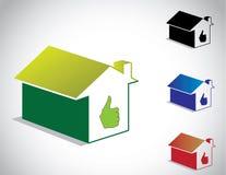 Het kleurrijke perfecte groene pictogram van het huishuis Royalty-vrije Stock Foto's
