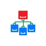 Het kleurrijke pictogram van de stroomgrafiek, vector vlak teken Stock Afbeeldingen