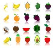 Het kleurrijke pictogram van het verscheidenheidsfruit Stock Afbeelding