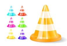 Het kleurrijke pictogram van verkeerskegels royalty-vrije illustratie