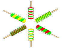 Het kleurrijke roomijs van Kerstmis op een stok Vector Illustratie
