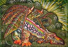 Het kleurrijke schilderen. Slaperige draak Royalty-vrije Stock Foto's