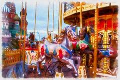 Het kleurrijke schilderen van carrouseldecoratie en verlichting royalty-vrije stock afbeeldingen
