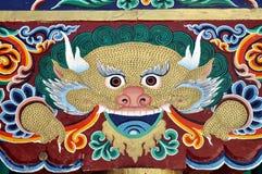 Het kleurrijke schilderen van een Boeddhistische tempel in Ladakh stock foto's