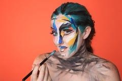 Het kleurrijke Schoonheidsportret van Intens maakt omhoog Schoonheidsmiddelen Stock Afbeelding