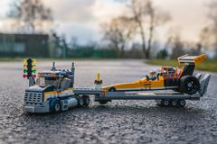 Het kleurrijke speelgoed van de lego plastic bouw Stock Foto