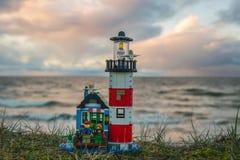 Het kleurrijke speelgoed van de lego plastic bouw Stock Foto's