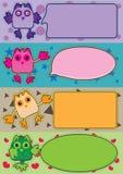 Het kleurrijke Stuk speelgoed Banner_eps van de Uil Royalty-vrije Stock Foto's