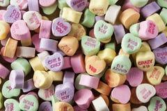 Het kleurrijke Suikergoed van Gespreksharten Royalty-vrije Stock Afbeelding