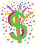 Het kleurrijke Teken van de Dollar Stock Afbeeldingen