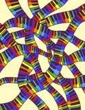 Het kleurrijke toetsenbord van de muzieksynthese op het blad van een schoolnotitieboekje Royalty-vrije Stock Afbeelding