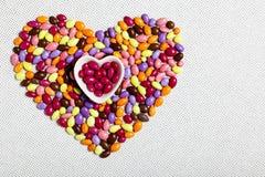 Het kleurrijke Verglaasde Hart van het Suikergoed Stock Afbeelding