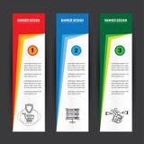 Het kleurrijke verticale malplaatje vectors van het bedrijfsbanners vlakke ontwerp stock illustratie