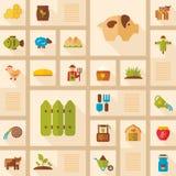 Het kleurrijke vlakke pictogram van de Landbouwbedrijftuin met lange schaduw Stock Afbeelding