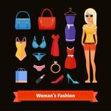 Het kleurrijke vlakke pictogram van de vrouwenmanier dat met model wordt geplaatst Stock Foto's