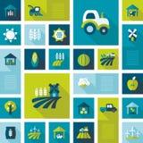 Het kleurrijke vlakke pictogram van het Landbouwbedrijfgebied met lange schaduw Royalty-vrije Stock Fotografie