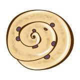 Het Kleverige Grafische Broodje van de kaneelrozijn Royalty-vrije Stock Afbeeldingen