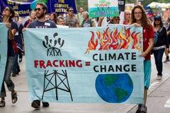 Het Klimaat Maart NYC van mensen royalty-vrije stock foto's