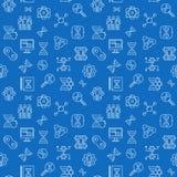 Het klonen lijn vector naadloos patroon met blauwe achtergrond stock illustratie