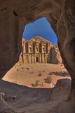 Het klooster (Advertentie -advertentie-deir). Petra, Jordanië Royalty-vrije Stock Afbeelding