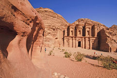 Het klooster (advertentie-Deir). Petra, Jordanië Stock Afbeeldingen