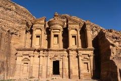 Het klooster of de Advertentie Deir in Petra oude stad, Jordanië royalty-vrije stock foto