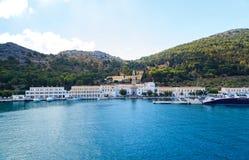 Het klooster in Panormitis op het Eiland Symi in Dodecanese Griekenland Europa Royalty-vrije Stock Fotografie