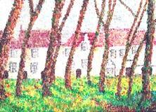 Het klooster van Beguine, pointillisme. Royalty-vrije Stock Afbeelding